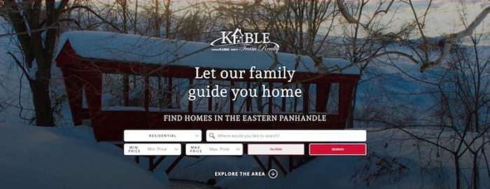 Kable Team Realty's redesigned homepage, featuring a large header image of a covered bridge and a quick home search tool.