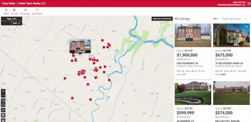 A screenshot of Kable Team Realty's map search tool, which has red dots representing available homes in Charles Town.