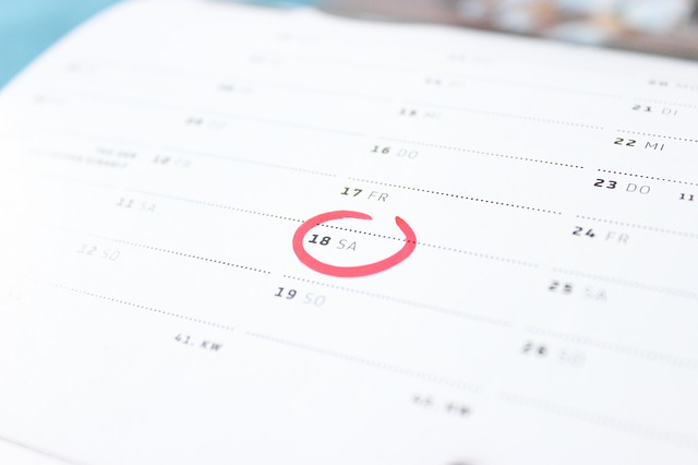 A date circled in red on a calendar.
