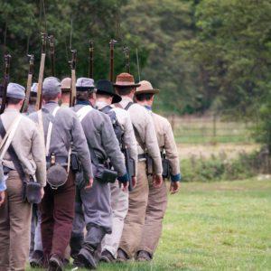 Civil War re-enactors line up for celebrations at historical Harpers Ferry