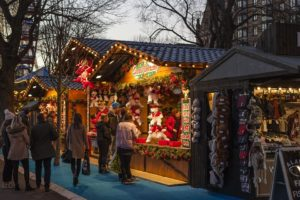 An open air holiday market.