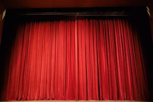 A red theater curtain.