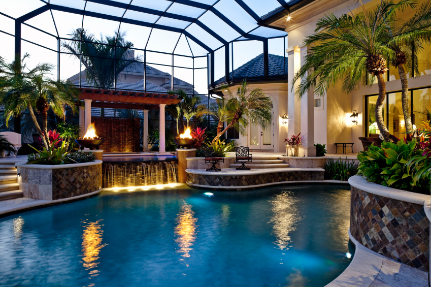 beautiful home with a lovely swimming pool area