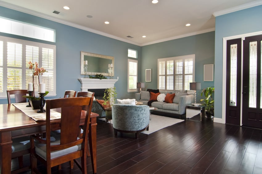 A stylish living room with blue walls and dark hardwood floors.